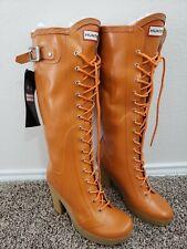 "Hunter Lapins Orange 4"" Heel Lace Up Rubber Rain Boots - Size 9"