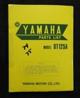 "1974 1975 YAMAHA 125cc ""MODEL DT125A DT125B"" MOTORCYCLE PARTS CATALOG MANUAL"