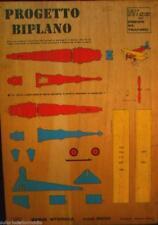 Progetto biplano da traforo in balsa della wigo anni 60 designer pietro roveda