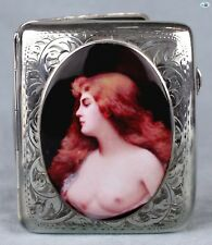 Antique 1920 Erotic British Lady Bust Silver Pictorial Enamel Cigarette Case