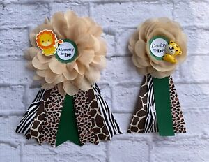 Green Safari Jungle Baby Shower Corsage ,Mommy To Be /Daddy To Be Corsage