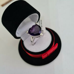 Stunning African Amethyst & Zircon Ring in Platinum Over Sterling Silver