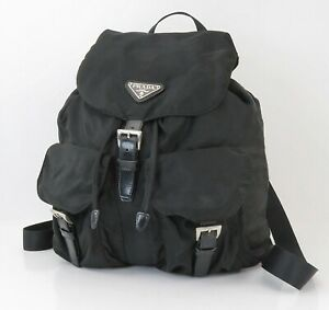 Authentic PRADA Black Nylon and Leather Backpack Bag Purse #40551A