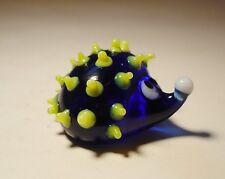 "Blown Glass ""Murano"" Art Animal Figurine Small Blue and Yellow HEDGEHOG"