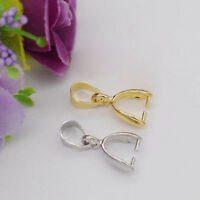 100pcs Silver and Gold Large Drop Pinch Bail Pendant Clasp 16mm to 20mm