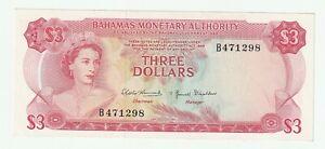 Bahamas 1968 3 dollars P.28 ( AUNC ~ UNC )