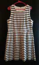 Gap Sleeveless Fit & Flare Navy and White Striped Inverted Pleat Dress Size 14