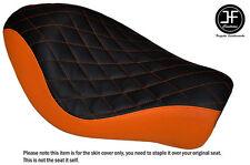 BLACK ORANGE VINYL DIAMOND CUSTOM FOR HARLEY SPORTSTER IRON 883 SOLO SEAT COVER