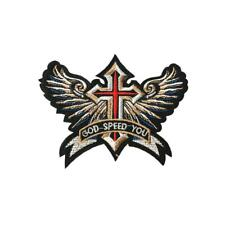 God Speed Cross Wings (Iron On) Embroidery Applique Patch Sew Iron Badge