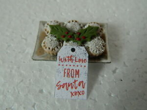 (CF.2) 1/12th scale DOLLS HOUSE HANDMADE CHRISTMAS MINCE PIES ON A TRAY