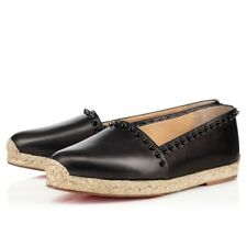 CHRISTIAN LOUBOUTIN BLACK ARES 41 11 LEATHER ESPADRILLES FLATS WOMAN SHOES FLATS