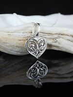 "Sterling Silver 925 Filigree Heart Pendant 16/18/20"" Chain Necklace UK Seller"