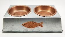 "Metal Dual Pet Feeder Metal. Water & Food Removable Bowls. Fish Logo 10"" x5"" x3"""