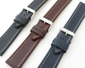 Premium Quality Matt Finish Ribbed Edge Profile Genuine Leather Strap