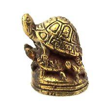 "Brass Turtle Thai Amulet Buddha Magic Talisman Wealth Money Lucky Miniature 1"""
