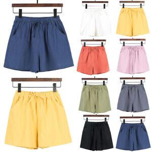 Womens Solid Elastic Waist Stripe Summer Loose Shorts Sports Casual Short Pants