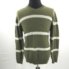 NEW Old Navy Wool Blend Sweater Mens Large Green Stripe V Neck NWT