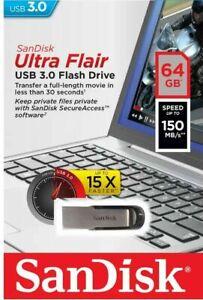 SanDisk Ultra Flair USB 3.0 64GB Flash Pen Key Thumb Drive Memory Stick 150MB/s