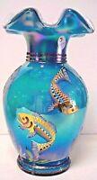 Fenton Glass Iridized Turquoise Overlay Fish Designer Vase  Family Sig QVC
