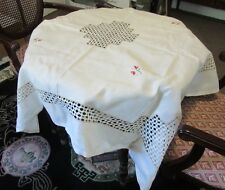 Embroidered Vintage linen, square table cloth
