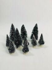 Lemax Lot of Mini Bottle Brush Snow Tipped Christmas Holiday Trees