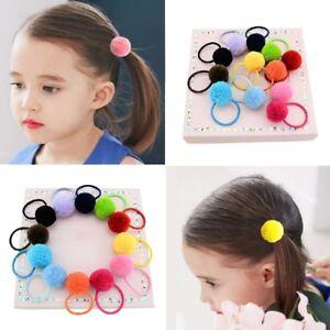 5 PCs Elastic Girls Pompom Ball Hairband Rope Ring Hair Band Ponytail Holder Set