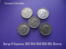 George VI Sixpences: 1942-1945-1948-1950-1951. AH8358.