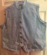 Retro size 18/20 Womens Light Blue Denim Vest Band Collar silver flower buttons