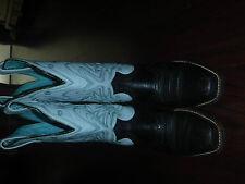 ARIAT SQUARE TOE BLACK W/ PALE BLUE COWBOY WESTERN BOOTS LADIES SZ 6 / 36 M