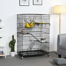 Large 2 Door Cat Cage Pet Playpen Folding Cat Wire Crate w/Tray &2 Hammock