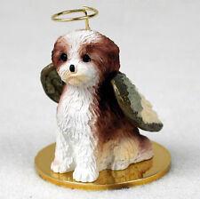 Shih Tzu Dog Figurine Angel Statue Hand Painted Tan Sport Cut