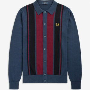 Fred Perry K9545 Long Sleeve Button Through Knitted Polo Carbon Blue, SALE