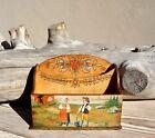 Antique R ttvik Sweden Folk Art Hand Painted Wood burned Desk Letter Holder Box