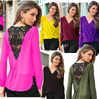 Women Ladies Girl Sexy Lace Chiffon Blouse Top Shirt Long Sleeve V-neck Clothes