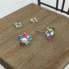 Flower Crystal Titanium Post Stud Earrings  Made in Korea US Seller