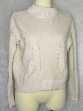 Top Shop US 2 Small Medium Turtleneck Knitted Crop Sweater Cream Beige Two Tone