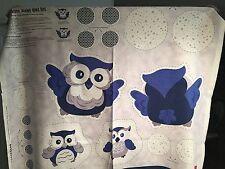 "Fabric Owls Blue Zippy Zoo on White Cotton Pillow Panel 35""x44"""