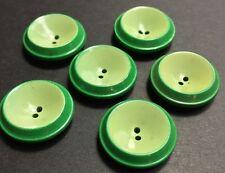 6 VINTAGE 2cm oscuro / Verde Menta Italiano Botones