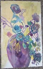 PURPLE FLOWERS by Ruth FREEMAN ACRYLIC ON   UNSTRETCHED CANVAS 15  X 24