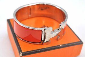 Authentic HERMES Clic Clac PM Bangle Bracelet Orange Silver Box E2054