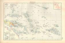 1900 ANTIQUE MAP- POLYNESIA, FIJI, GILBERT, MARSHALL, MARQUESAS,