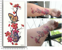 Blume Einmal Tattoos Flower Schmetterlinge Temporary Tattoo Body Sticker 19x9cm