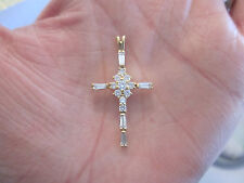 """CROSS PENDANT: gold plate on sterling 925 silver Multi CZ 1 inch """"DBJ"""" Thailand"""