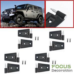 Door Hinges Aluminum Alloy Set 4 Doors For 2007-2017 Jeep Wrangler Unlimited JK