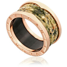 Bvlgari B.Zero1 18K Pink Gold And Green Marble 4-Band Ring Size 11.75