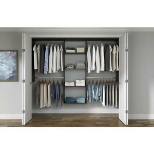 Wood Closet System Tower Wall-Mount Adjustable Shelves Laminate Espresso Brown