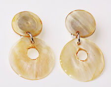 TRENDY FUN ROMANTIC-LOOK LIGHT BROWN MOTHER OF PEARL FASHION EAR CLIPS (ZX23)