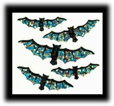 Hambly Studios Vintage Sparkle Halloween Black Silver Bats Stickers RARE