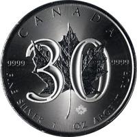 2018 Canada 1 Ounce Silver Maple Leaf 30th Anniversary BU