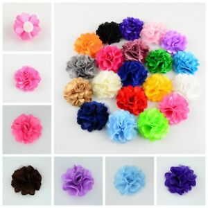 2'' Mesh Fabric Flowers For Female Dog Collar Accessory Pet Slide Bows Pack Of 4
